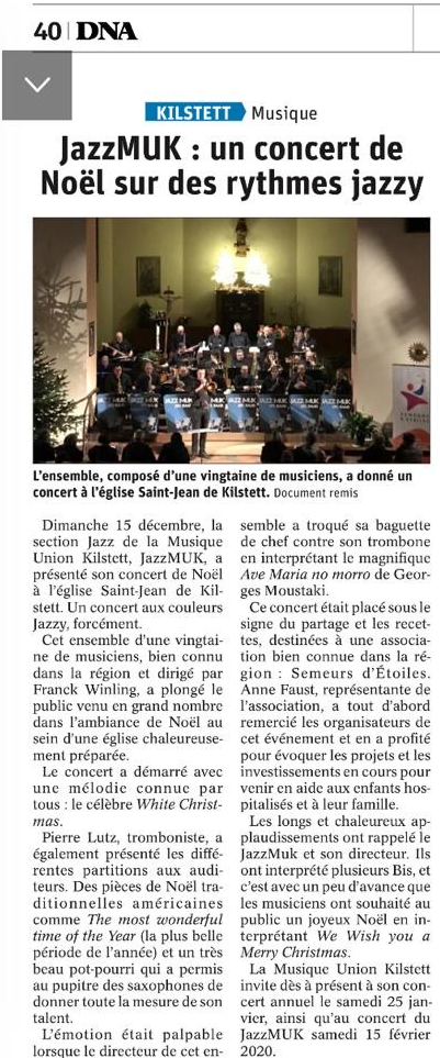 Article DNA - Concert de Noël Kilstett 2019